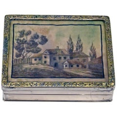 Silver Biedermeier Box Embroidered Picture Vienna Mayerhofer & Klinkosch, 1846