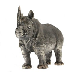 Silver Big African Rhinoceros Sculpture