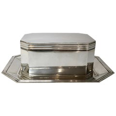 Silver Biscuit Box and Plate, Kempen en Begeer, Netherlands 1914, Dutch Silver