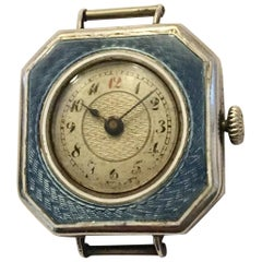 Silver Blue Enamel Square Trench Watch