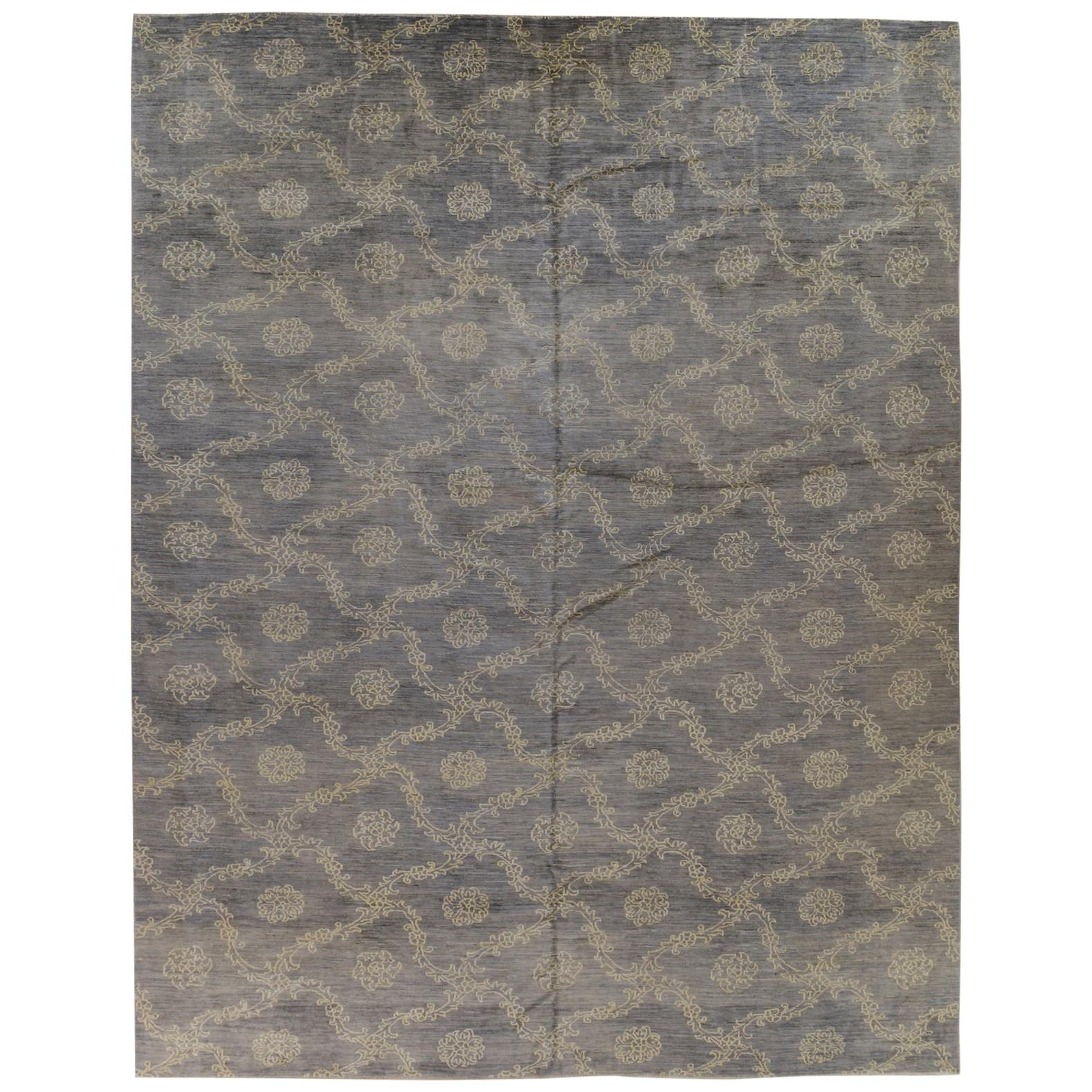 Silver Blue Floral Stencil Design Wool and Silk Rug