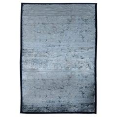 Silver Blue Modern Silk Rug