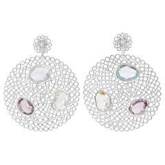 Silver Blue Topaz, Amethyst, Crystal Earrings
