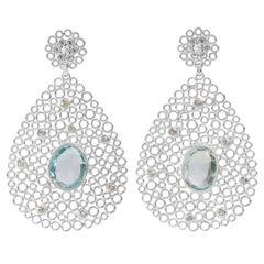 Silver Blue Topaz Diamond Earrings
