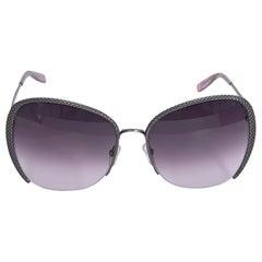 Bottega Veneta Silver Embossed Square Sunglasses
