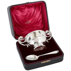 Silver Bowl and Spoon in Fitted Case by Irish Firm West & Son