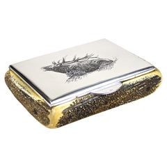 Silver Box with Deer Antler Coverings, 900 Silver Hallmarked, Austria circa 1920