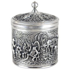 Silver Box with Lid Embossed, Germany, circa 1915