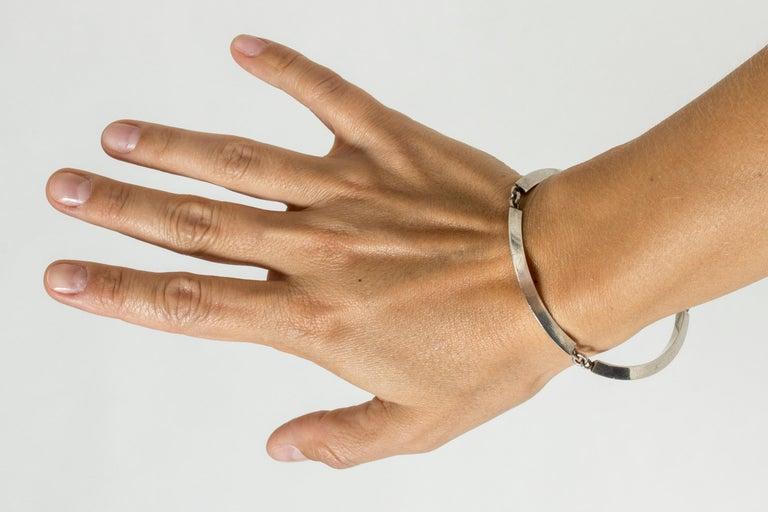 Modernist Silver Bracelet by Arvo Saarela, Sweden, 1963 For Sale