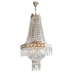 Silver Brass Empire Sac a Pearl Chandelier Crystal Lustre Ceiling Lamp Antique