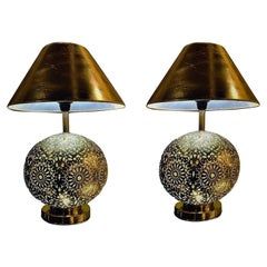 Silver Brass Filigree Moroccan Table Lamp, with Bottom and Upper Lights, a Pair
