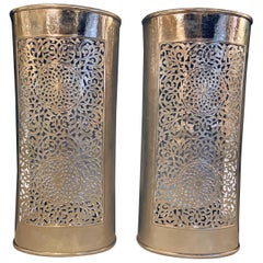 Silver Brass Modern Moroccan Wall Lanterns/Sconces in Filigree Design, a Pair