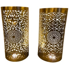 Wall Lanterns or Sconces Modern Moroccan in Brass with Filigree Design, a Pair