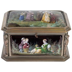 Silver Bronze and Enamel Box, Painting Signed by COBLENTZ