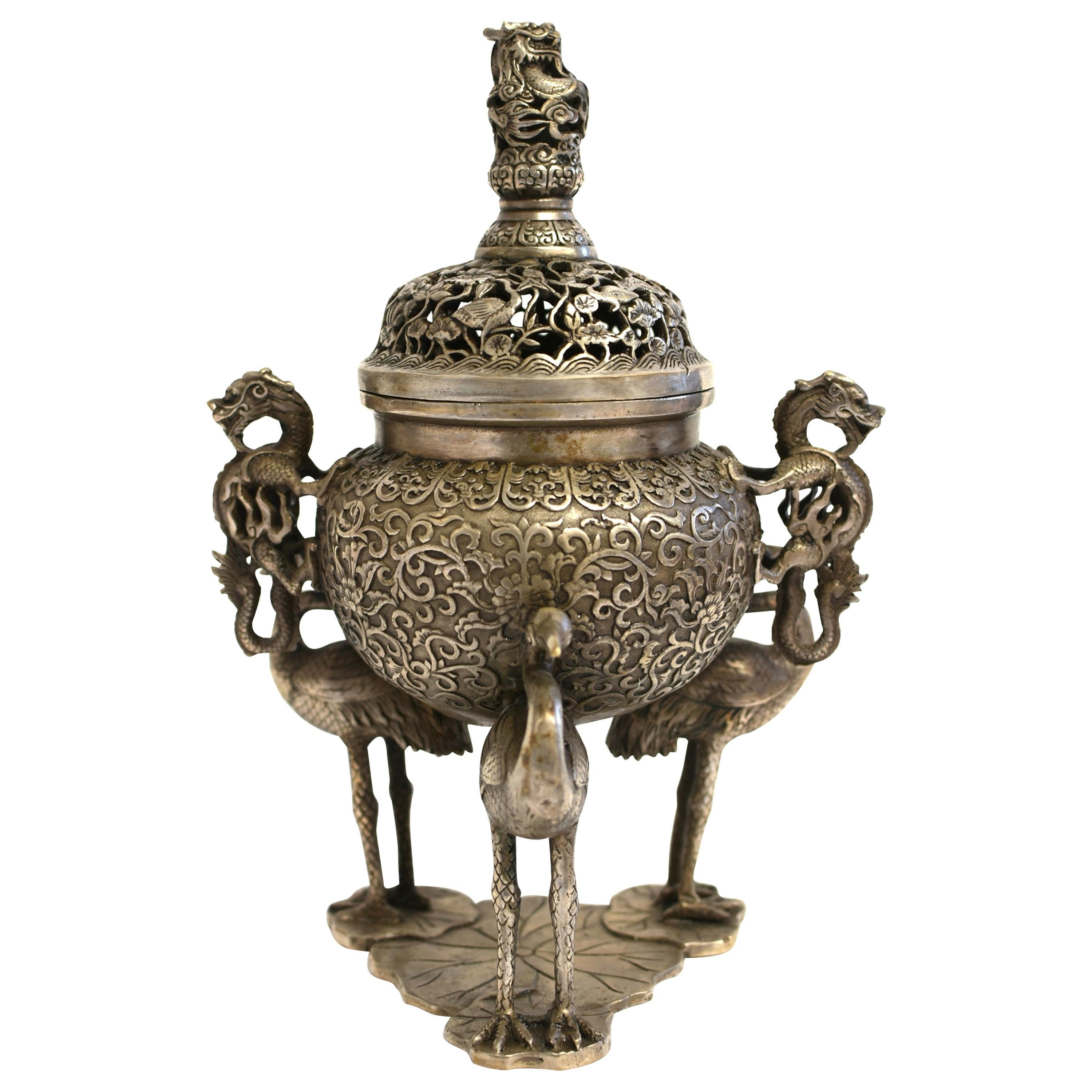 Silver Bronze Censer with Dragons and Egrets