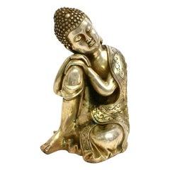Silver Bronze Contemplative Buddha in Meditation