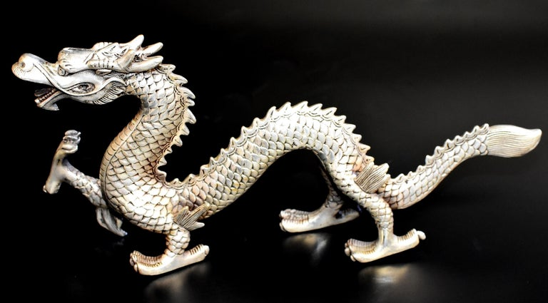 Qing Silver Bronze Dragon For Sale