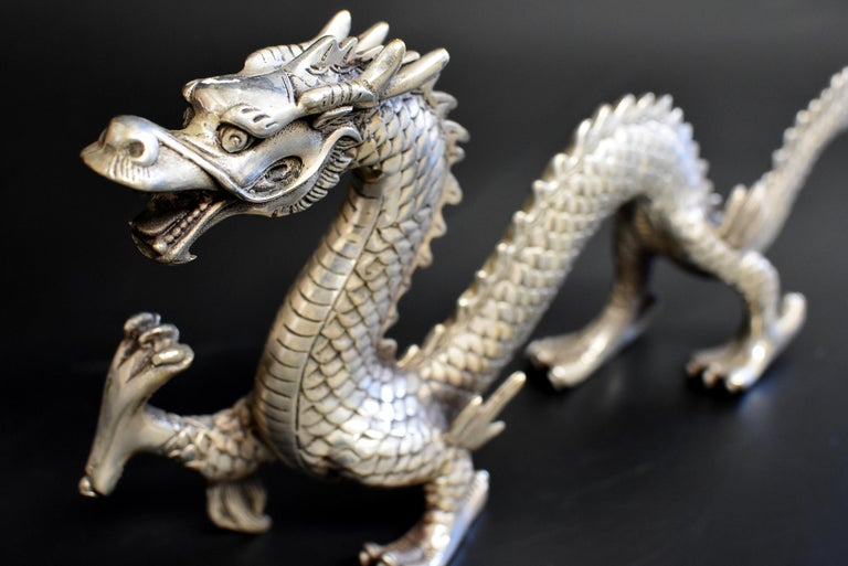 Asian Silver Bronze Dragon For Sale