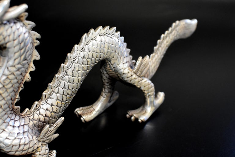 Silvered Silver Bronze Dragon For Sale