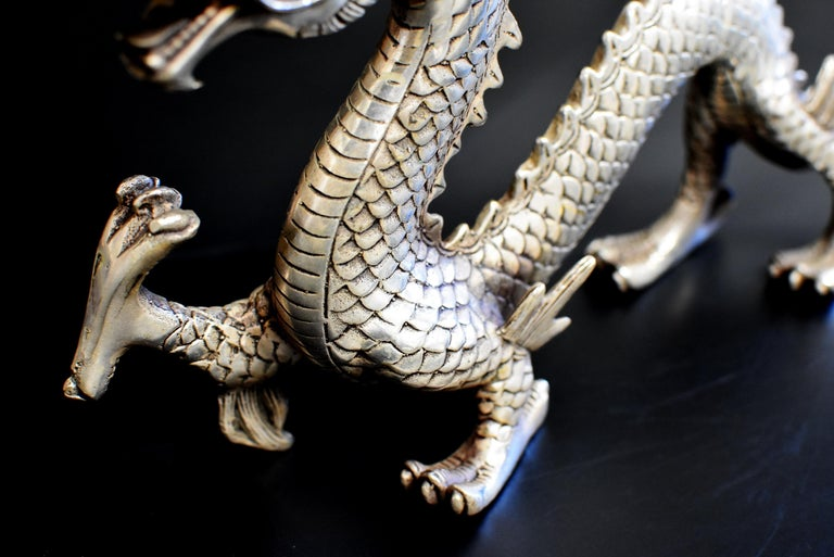 Silver Bronze Dragon In Good Condition For Sale In Somis, CA