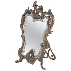 Silver Bronze Table Mirror, Late 19th Century, Rocaille Style