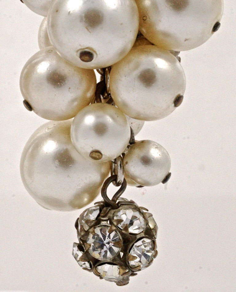 Silver Bronze Tone Rhinestone Faux Pearl Cluster Clip On Drop Earrings, 1960s  For Sale 2