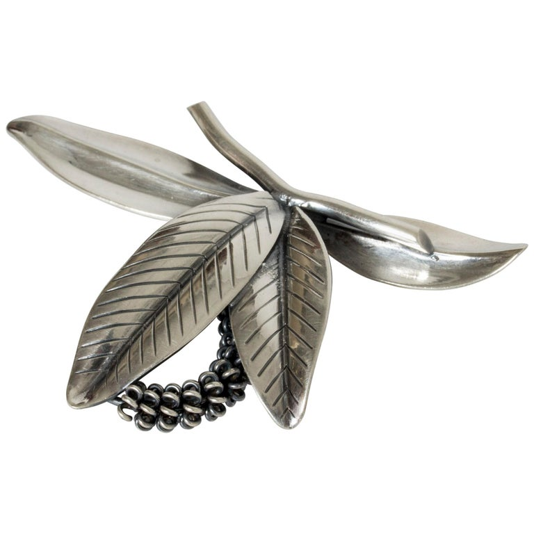 Silver Brooch by Gertrud Engel for Michelsen, Denmark, 1940s For Sale