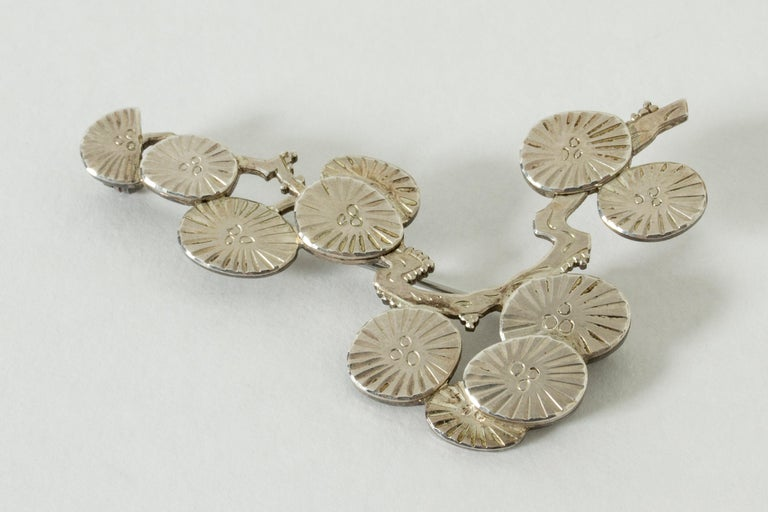 Silver Brooch by Wiwen Nilsson, Sweden, 1970 In Good Condition For Sale In Stockholm, SE