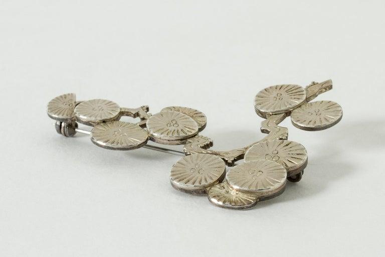 Women's or Men's Silver Brooch by Wiwen Nilsson, Sweden, 1970 For Sale