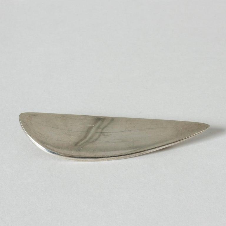 Modern Silver Brooch from Hans Hansen, Denmark, 1950s For Sale