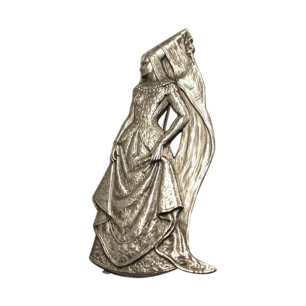 Silver Brooch of a Lady in Medieval Clothes, London, 1946