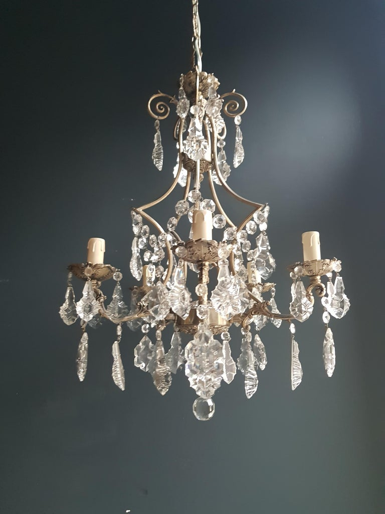 Silvered cage putt crystal chandelier antique ceiling lamp lustre  Measures: Total height 120 cm, height without chain 66 cm, diameter 47 cm. Weight (approximately): 5kg.  Number of lights: Five-light bulb sockets:  E14 material: Brass, glass,