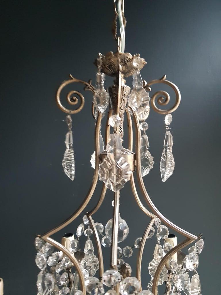 Art Nouveau Silver Cage Putt Crystal Chandelier Antique Ceiling Lamp Lustre Brass For Sale