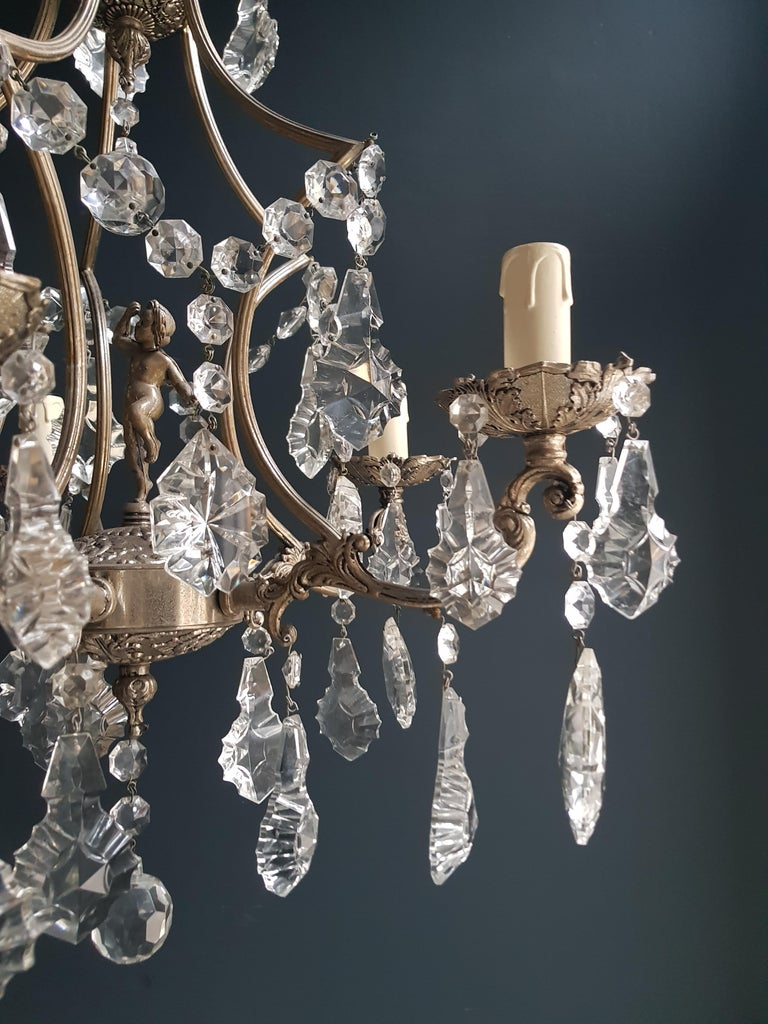 Italian Silver Cage Putt Crystal Chandelier Antique Ceiling Lamp Lustre Brass For Sale