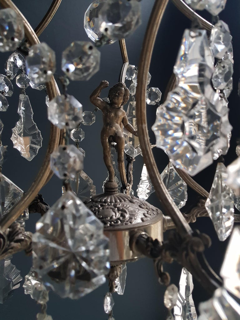 Hand-Knotted Silver Cage Putt Crystal Chandelier Antique Ceiling Lamp Lustre Brass For Sale