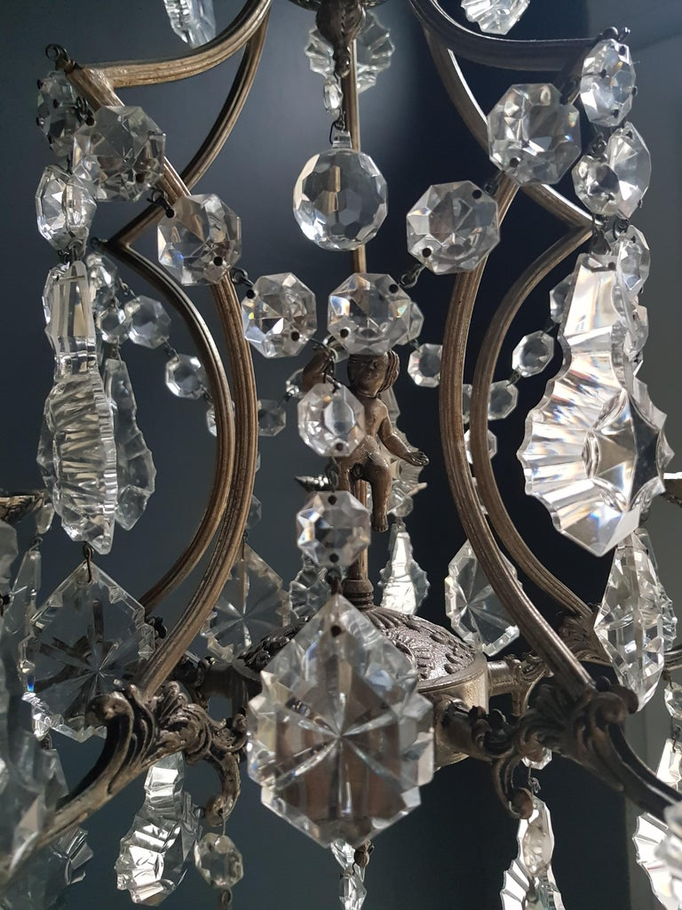 Silver Cage Putt Crystal Chandelier Antique Ceiling Lamp Lustre Brass In Good Condition For Sale In Berlin, DE