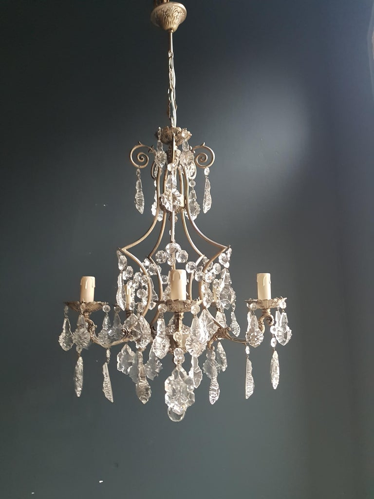 Mid-20th Century Silver Cage Putt Crystal Chandelier Antique Ceiling Lamp Lustre Brass For Sale