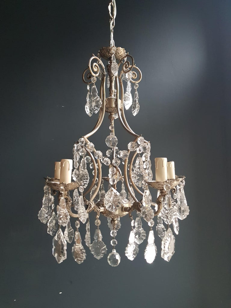 Silver Cage Putt Crystal Chandelier Antique Ceiling Lamp Lustre Brass For Sale 1