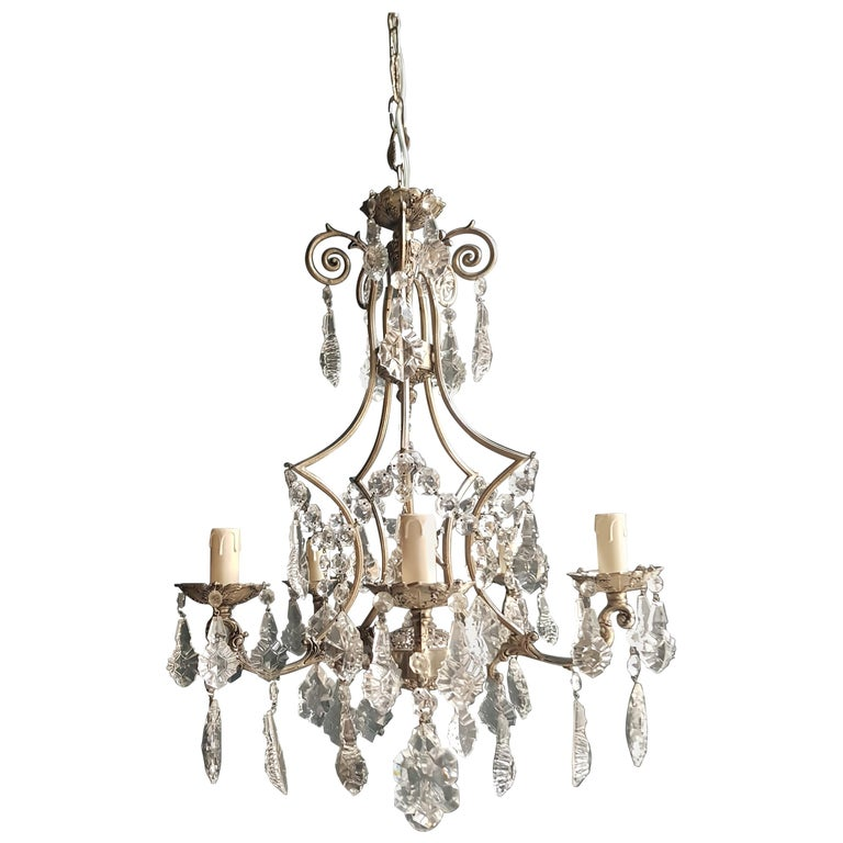Silver Cage Putt Crystal Chandelier Antique Ceiling Lamp Lustre Brass For Sale