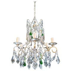 Silver Candelabrum Green Crystal Antique Chandelier Ceiling Lustre Art Nouveau