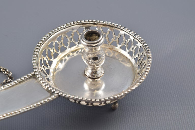 Neoclassical Silver Candlestich or Candleholder with Tongs or Tweezers Barcelona 19th Century For Sale