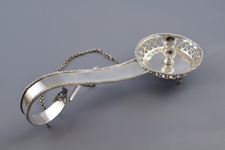 Silver Candlestich or Candleholder with Tongs or Tweezers Barcelona 19th Century For Sale 2