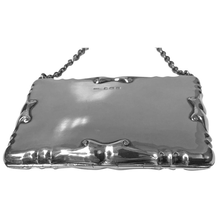 Silver Card Case Aide Memoire Purse Birmingham 1908 William Haseler For Sale