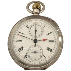 Silver Cased Swiss Lever Chronograph Centre Seconds Pocket Watch