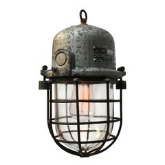 Silver Cast Aluminium Vintage European Industrial Cage Clear Glass Lamp