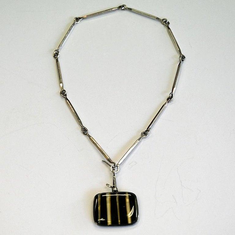Scandinavian Modern Silver Necklace with vintage Glass Pendant by Bengt Liljedahl 1959, Sweden For Sale