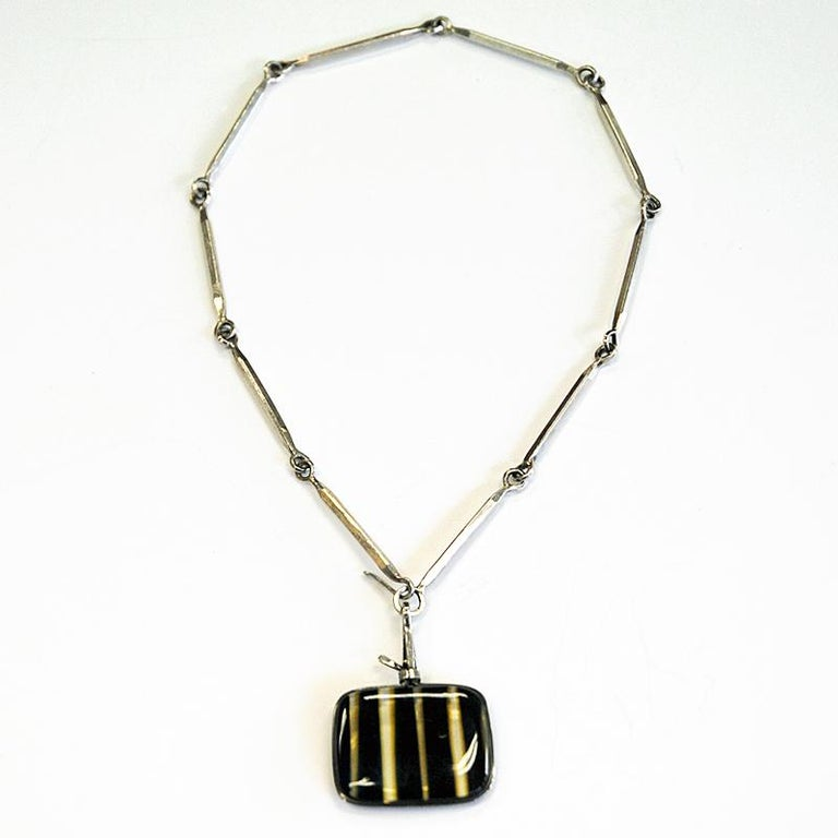 Swedish Silver Necklace with vintage Glass Pendant by Bengt Liljedahl 1959, Sweden For Sale