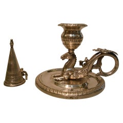 Silver Chamberstick / Candleholder Hippocampus / Seahorse, 1837 Munich, Germany