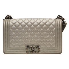 Silver CHANEL Boy Bag
