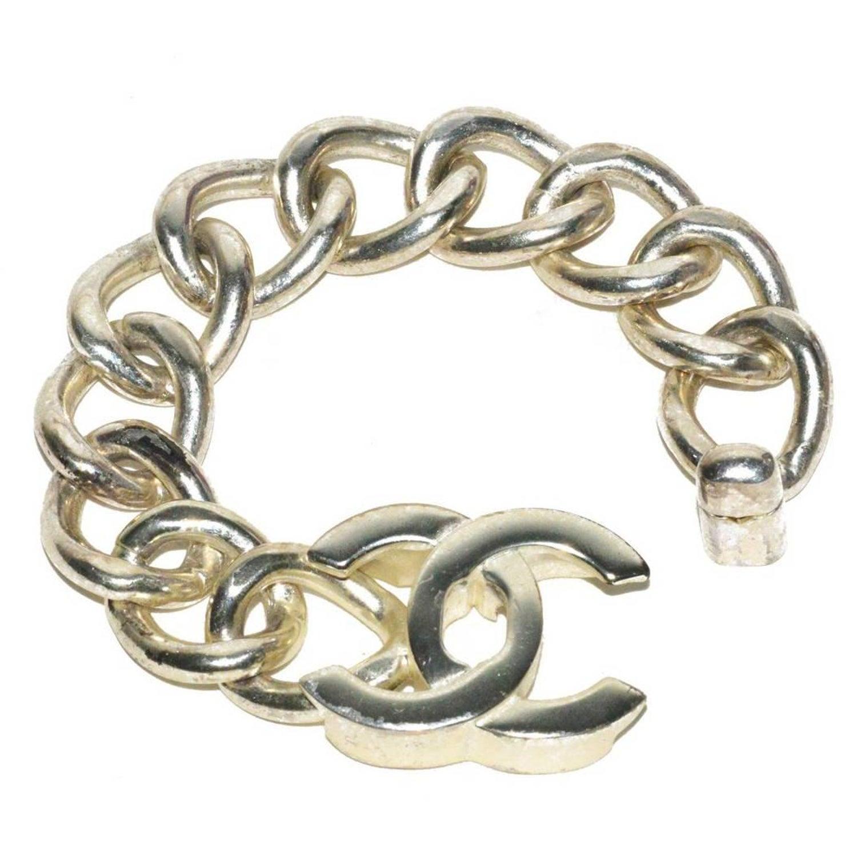4b1927e6d1d Chanel Silver Link Logo Bracelet at 1stdibs